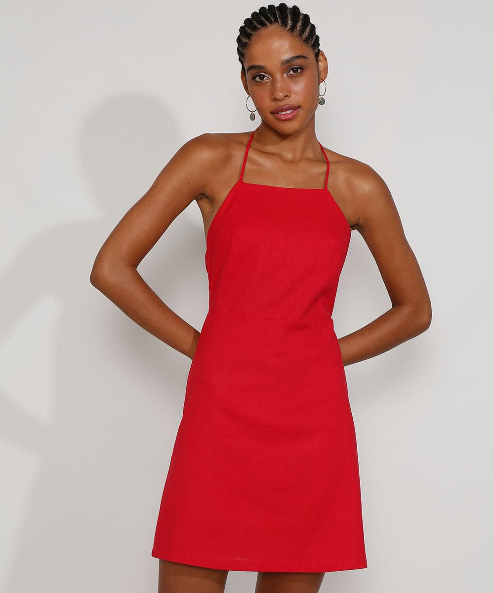 Vestido Feminino Curto Frente Única com Linho Alça Fina Vermelho