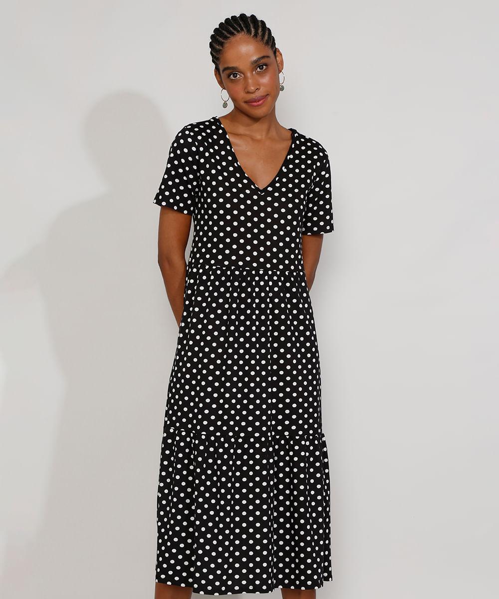 Vestido Feminino Midi Estampado de Poá com Recortes Manga Curta Preto