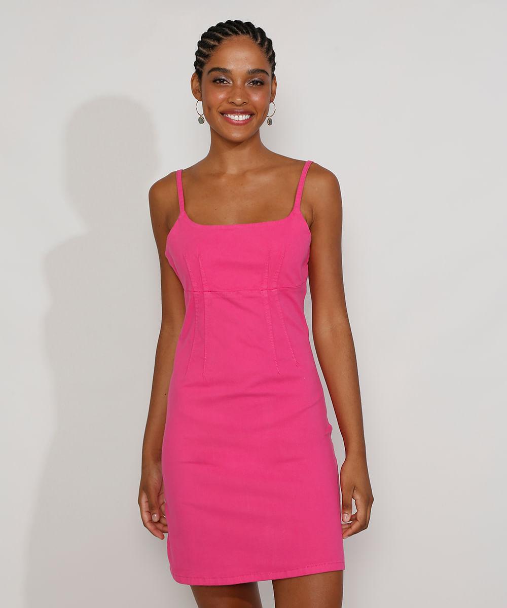 Vestido de Sarja Feminino Curto Alça Fina Pink