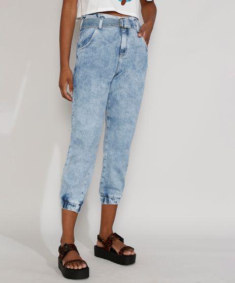 Calca-Jeans-Feminina-Cintura-Alta-Jogger-Marmorizada-com-Cinto-Azul-Claro-9982170-Azul_Claro_1