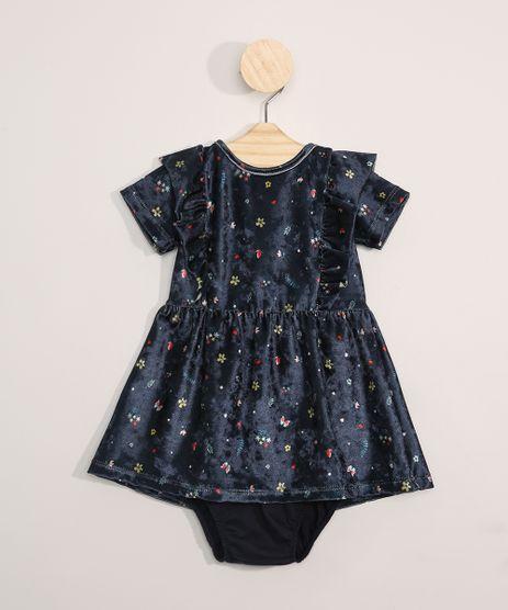 Vestido-de-Veluda-Infantil-Manga-Curta-Estampado-Floral---Calcinha-Azul-Marinho-9980545-Azul_Marinho_1