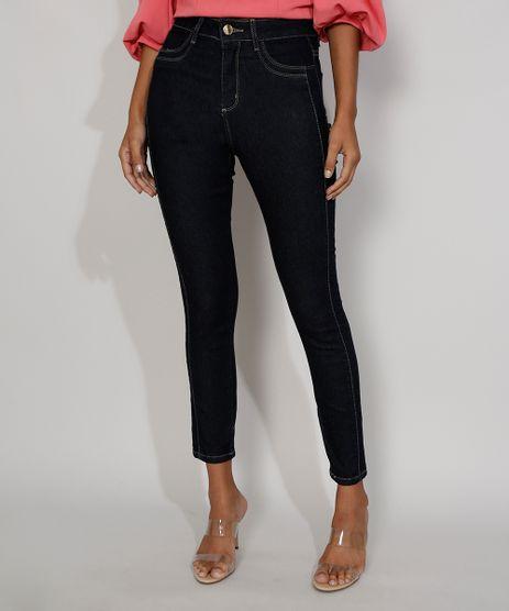 Calca-Jeans-Feminina-Cintura-Alta-Sawary-Skinny-Super-Lipo-com-Recorte-Azul-Escuro-9983856-Azul_Escuro_1