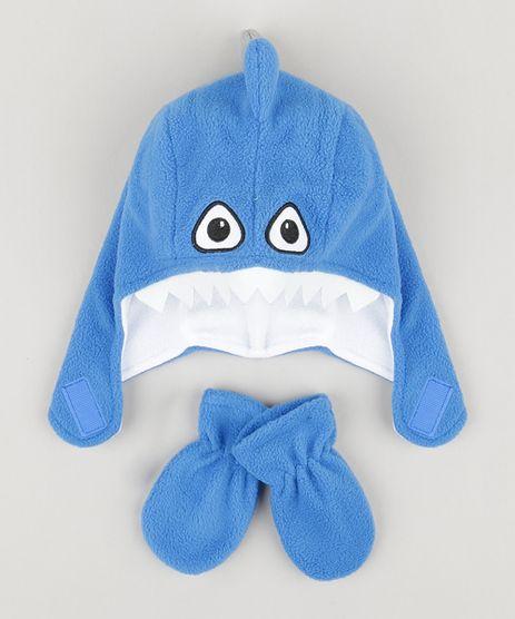 Kit-de-Gorro-Infantil-Tubarao-com-Dentes---Luva-em-Fleece-Azul-Royal-8489945-Azul_Royal_1