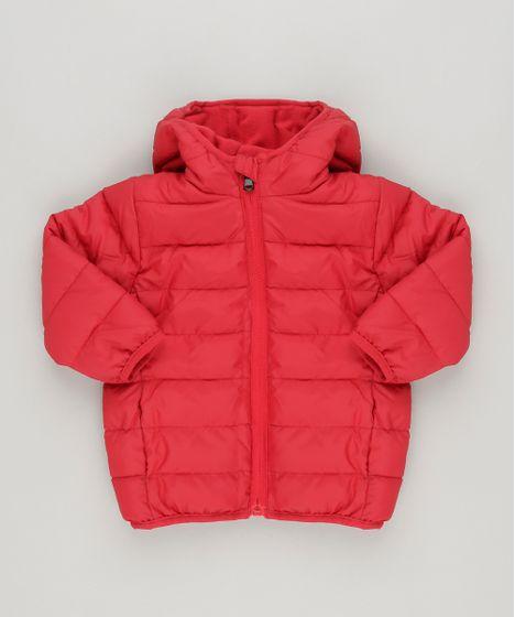 Jaqueta Infantil Puffer com Capuz e Forro em Fleece Vermelha - cea b7276737147