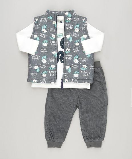 Conjunto-Infantil-de-Colete-Puffer-Estampado-de-Ursos-Cinza---Camiseta-Manga-Longa-Off-White---Calca-com-Forro-em-Algodao---Sustentavel-Chumbo-8914700-Chumbo_1