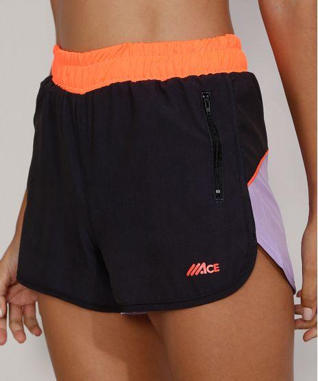 Short-Feminino-Esportivo-Ace-Running-Color-Block-com-Bolsos-de-Ziper-Preto-9976854-Preto_1