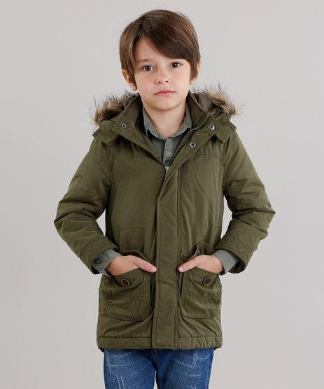 Jaqueta-Infantil-Parka-Capuz-com-Pelos--Verde-Militar-8863148-Verde_Militar_1