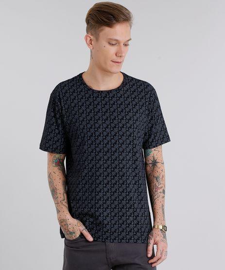 Camiseta-Masculina-Estampada-de-Coqueiros-Manga-Curta-Gola-Careca-Preto-8776860-Preto_1