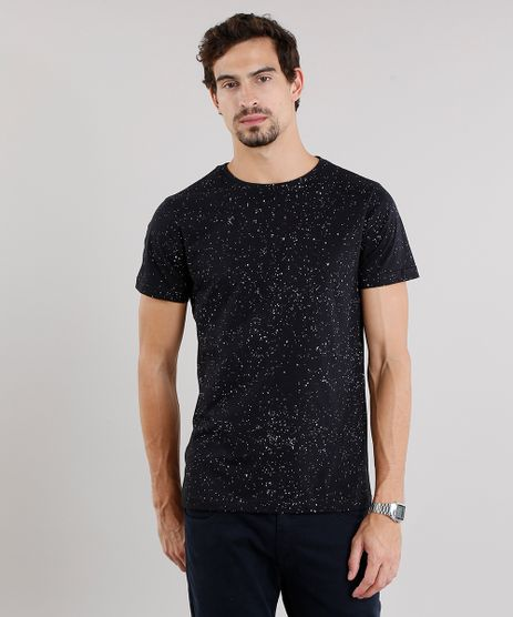 Camiseta-Masculina-Slim-Fit-Estampada-de-Respingos-Manga-Curta-Gola-Careca-Preta-9115993-Preto_1