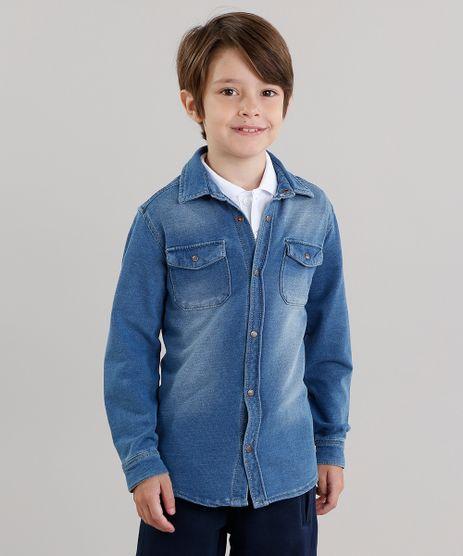 Camisa-Jeans-Infantil-em-Moletom-com-Bolso-Manga-Longa--Azul-Medio-8866668-Azul_Medio_1