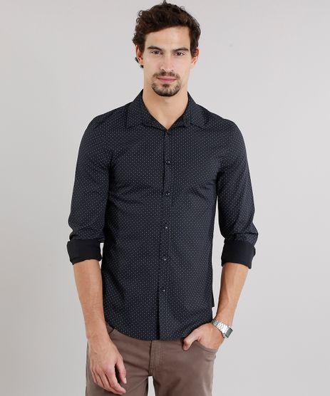 Camisa-Masculina-Slim-Estampada-Manga-Longa-Preta-8856185-Preto_1