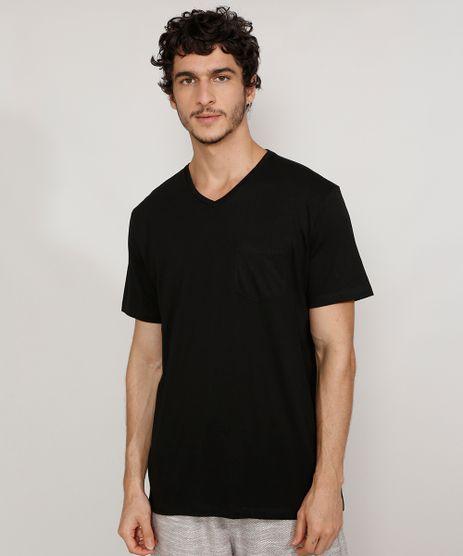 Camiseta-Masculina-Gola-V-Manga-Curta-Basica-com-Bolso-Preta-9979614-Preto_1
