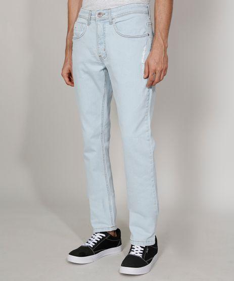 Calca-Jeans-Masculina-Slim-com-Puidos-Azul-Claro-9973240-Azul_Claro_1