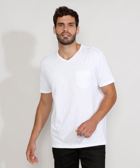 Camiseta-Masculina-Gola-V-Manga-Curta-Basica-com-Bolso-Branca-9979614-Branco_1