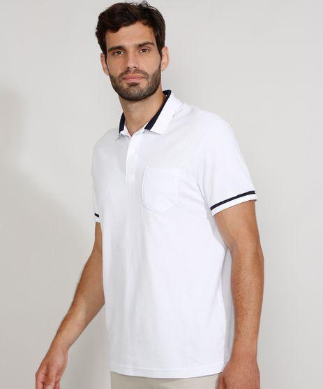 Polo-Masculina-Tradicional-em-Piquet-com-Bolso-Manga-Curta-Branca-9963515-Branco_1