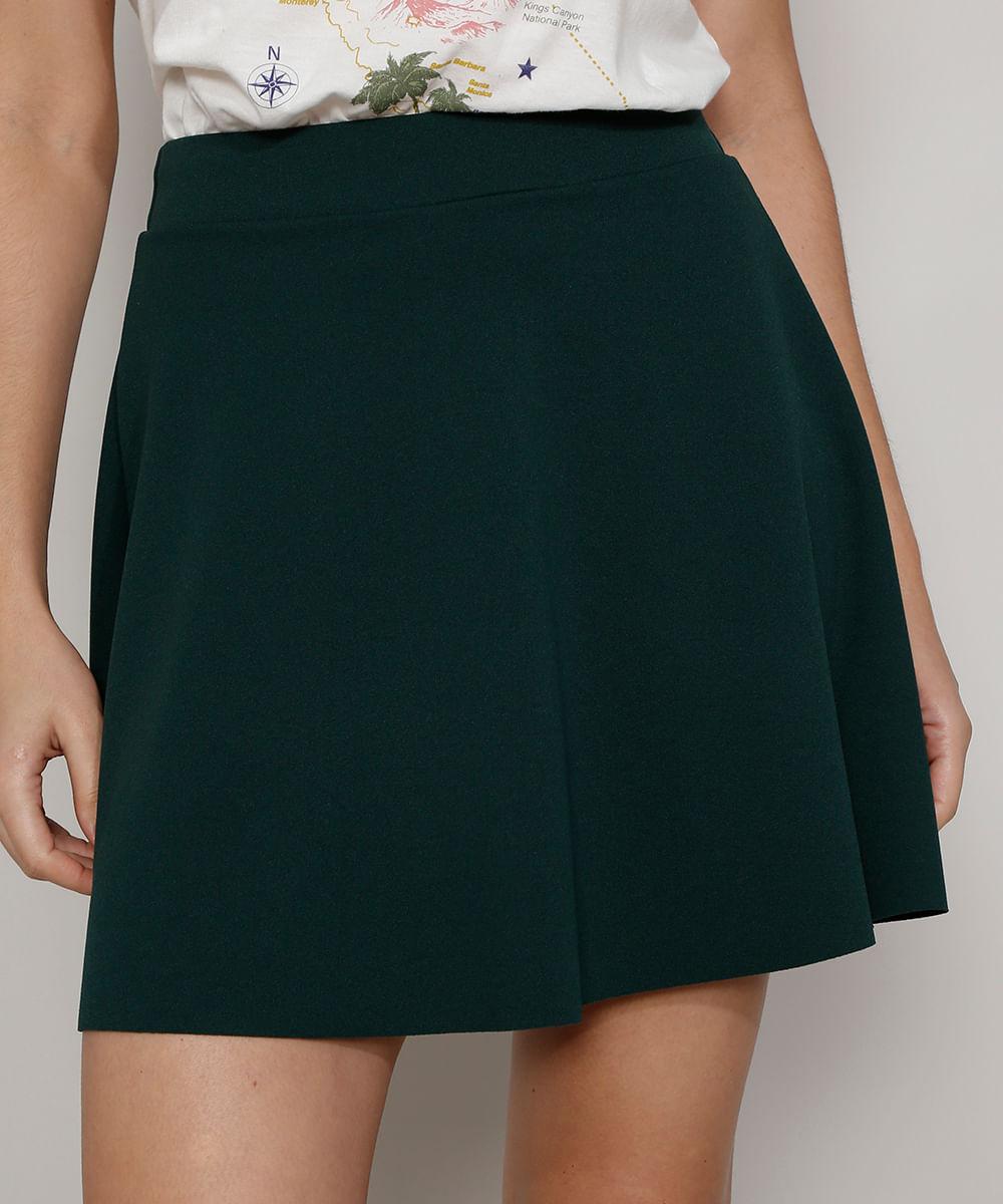 Short Saia Feminino Mindset Evasê Cintura Alta Verde Escuro