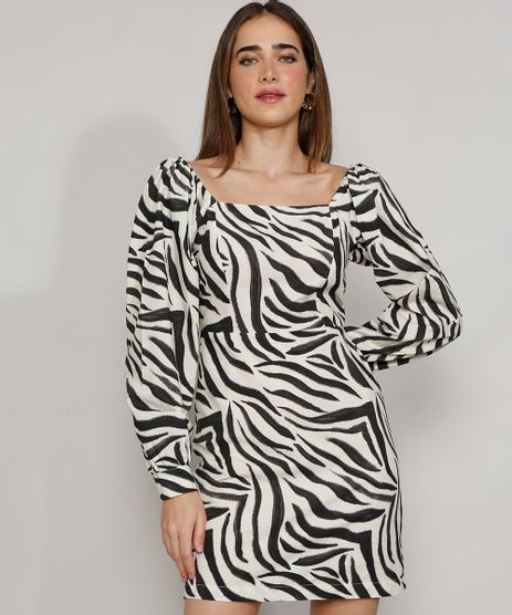 Vestido-Feminino-Mindset-Curto-Estampado-Animal-Print-Zebra-Manga-Bufante-Branco-9985177-Branco_1