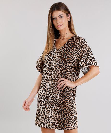 Vestido-Feminino-Amplo-com-Babado-nas-Mangas-Estampado-Animal-Print-Decote-V-Curto-Bege-8915148-Bege_1
