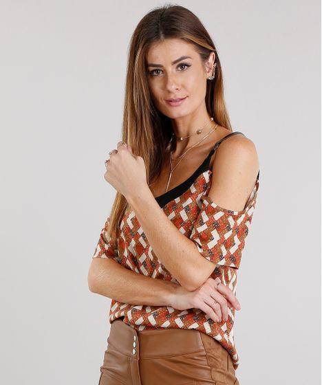 4d9408f3fb Blusa Feminina Open Shoulder com Argola na Alça Geométrica Floral ...