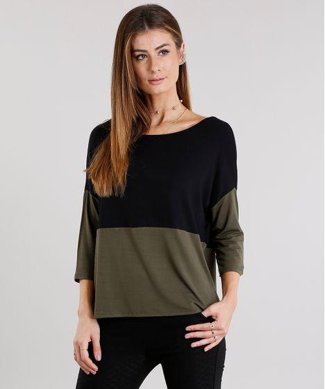 Blusa Feminina Bicolor com Recorte Manga Curta Decote Redondo Verde ... 5f08362d19e