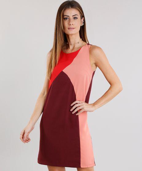 Vestido-Feminino-com-Recortes-Curto-Decote-Redondo-Vinho-8887805-Vinho_1