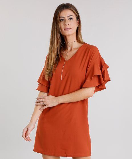 Vestido-Feminino-Amplo-com-Babado-nas-Mangas-Decote-V-Curto-Laranja-Escuro-8915149-Laranja_Escuro_1