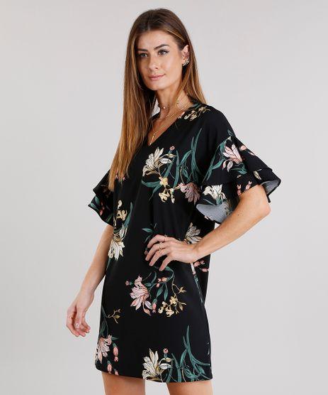 Vestido-Feminino-Amplo-com-Babado-nas-Mangas-Estampado-Floral-Decote-V-Curto-Preto-8915147-Preto_1