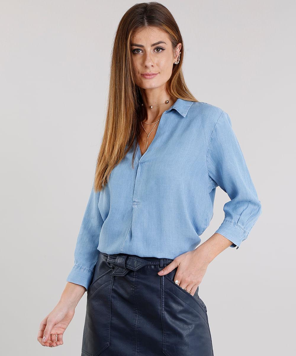 3a557f979d Blusa Jeans Feminina Ampla Decote V Manga Longa Azul Claro ...