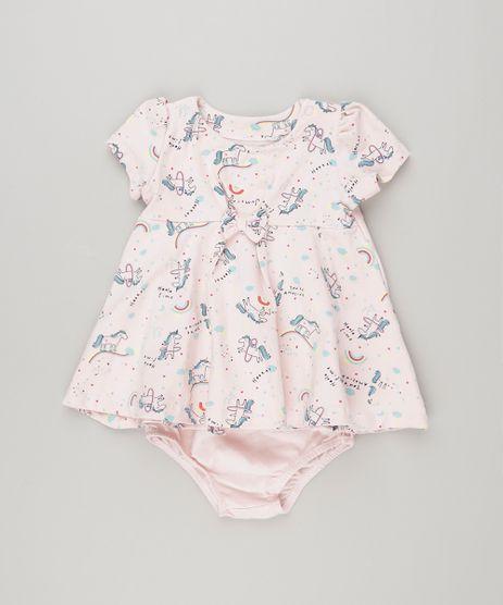 Vestido-Infantil-Estampado-de-Unicornio-com-Laco-Manga-Curta---Calcinha-Rosa-Claro-9137711-Rosa_Claro_1