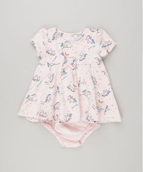 073a713b4 Vestido Infantil Estampado de Unicórnio com Laço Manga Curta + ...