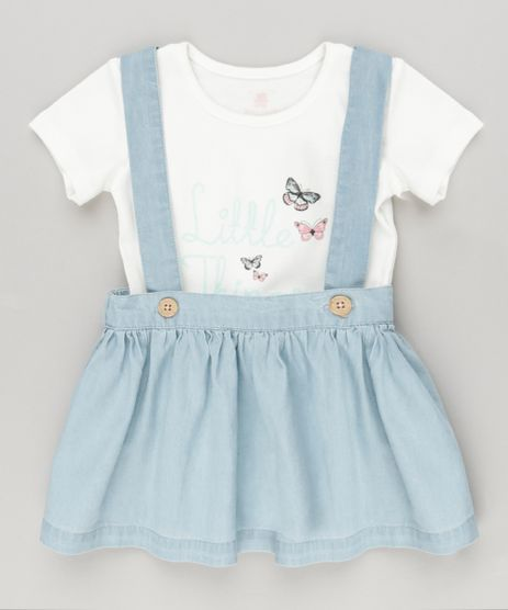 Conjunto-Infantil-de-Body-Manga-Curta--Forever--Off-White---Salopete-em-Jeans-de-Algodao---Sustentavel-Azul-Claro-8859354-Azul_Claro_1