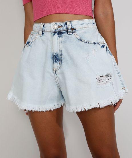 Short-Jeans-Feminino-Destroyed-Gode-Cintura-Super-Alta-com-Barra-Desfiada-Azul-Claro-9979816-Azul_Claro_1