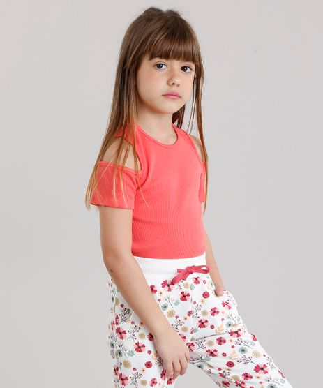 Blusa-Infantil-Open-Shoulder-Canelada-com-Renda-na-Barra-Manga-Curta-Decote-Redondo-Coral-9132412-Coral_1