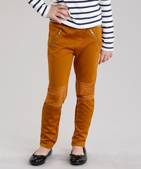 Calca-Infantil-Legging-com-Recorte-em-Suede-e-Ziper-Caramelo-8922288-Caramelo_1