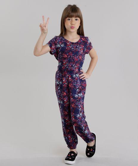 Macacao-Infantil-Estampado-Floral-com-Botoes-e-Laco-Manga-Curta-Azul-Marinho-8821977-Azul_Marinho_1