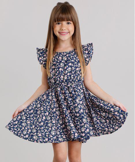075691b2e8fc58 Vestido Infantil Estampado Floral com Babado Sem Manga Azul Marinho ...