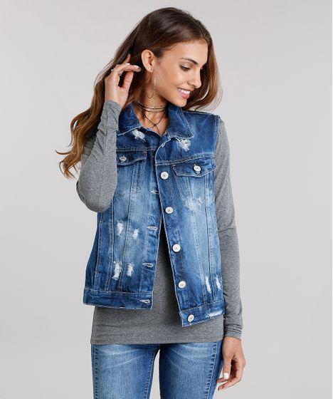 ab4e44526b Colete Jeans Feminino Destroyed com Bolsos Gola Esporte Azul Escuro ...