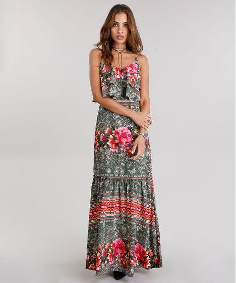 7ec3cd255 Vestido Feminino Longo Estampado Floral com Babados Alças Finas ...
