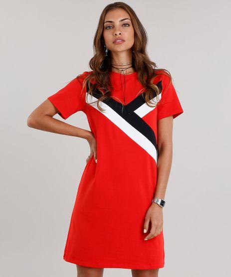 Vestido-Feminino-com-Recortes-Manga-Curta-Decote-Redondo-Curto-em-Algodao---Sustentavel-Vermelho-9150807-Vermelho_1