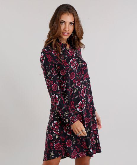 Vestido-Feminino-Chemise-Estampado-Floral-Curto-Manga-Longa-Preto-9120654-Preto_1
