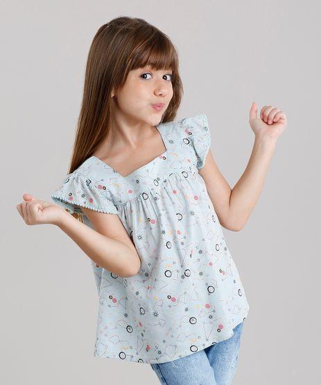 Blusa-Infantil-com-Pompom-estampada-de-estrelas-Manga-Curta-Decote-Redondo-Verde-Claro-8821805-Verde_Claro_1
