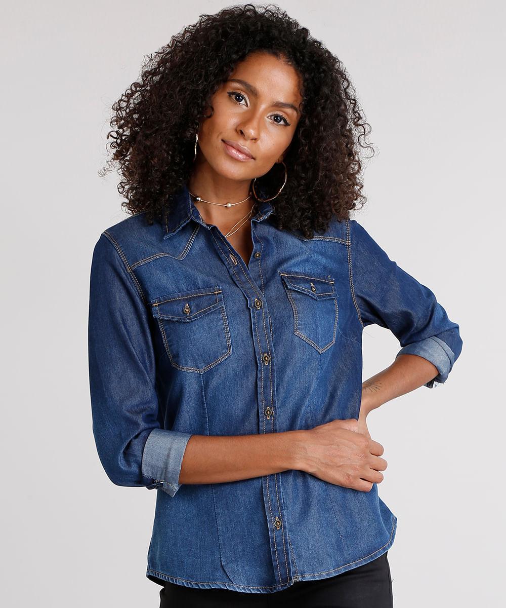 f6e9b504ef Camisa Jeans Feminina com Bolsos Azul Escuro - ceacollections