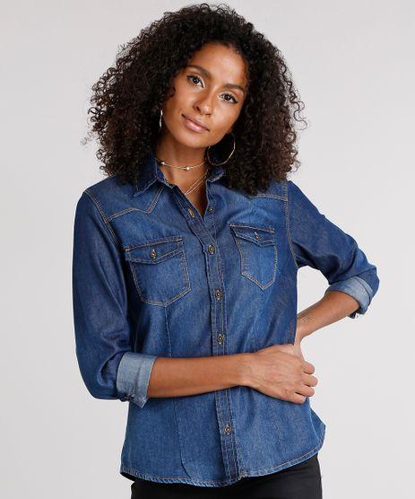 Camisa-Jeans-Feminina-com-Bolsos-Azul-Escuro-9157062-Azul_Escuro_1