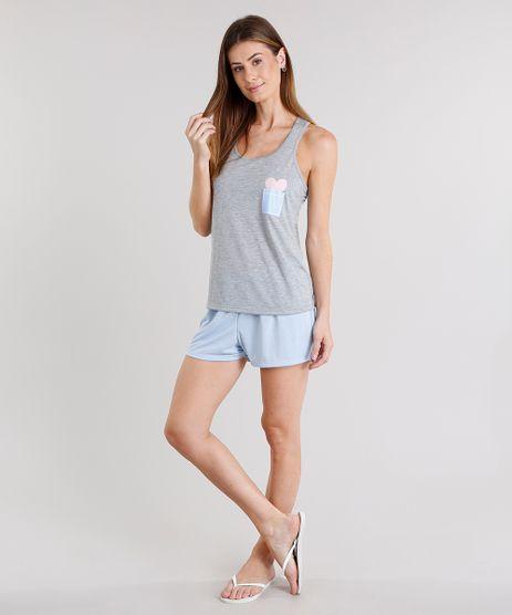 Pijama-Feminino-com-Estampa-de-Coracao-Alca-Media-Cinza-Mescla-9122648-Cinza_Mescla_1
