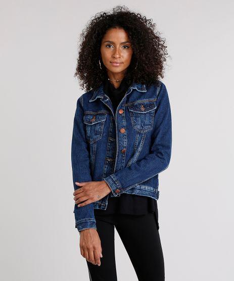Jaqueta-Jeans-Feminina-com-Bolsos-Azul-Escuro-9102255-Azul_Escuro_1
