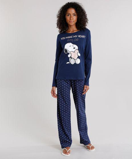 Pijama-Feminino-Snoopy-com-Estampa-de-Poa-Manga-Longa-em-Algodao---Sustentavel-Azul-Marinho-9122176-Azul_Marinho_1