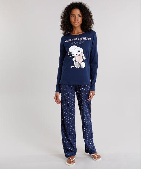 eacc6034b2 Pijama Feminino Snoopy com Estampa de Poá Manga Longa Azul Marinho - cea