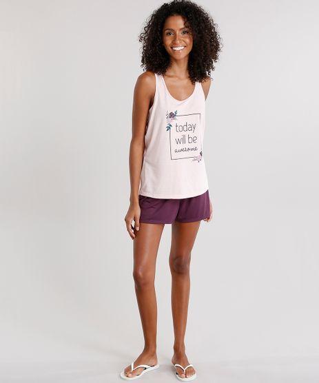Pijama-Feminino-com-Estampa-Floral--Today-Will-Be-Awesome--Alca-Media-Rose-9133586-Rose_1