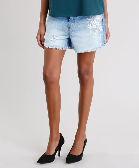 Short-Jeans-Feminino-Boyfriend-com-Bordado-Floral-Barra-Desfiada-Azul-Claro-9140635-Azul_Claro_1