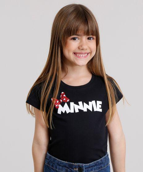 Blusa-Infantil-Minnie-Mouse-com-Laco-Bordado-de-Paetes-Manga-Curta-em-Algodao---Sustentavel-Preta-9168464-Preto_1